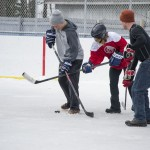 Tough to old onto the puck in snowboots!