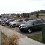Attendee cars filled the SouthWest parking area during the Mill Creek open house