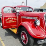The Marquette Township Fire Truck leading the parade otday