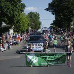 Start of Girl Scouts with Banner