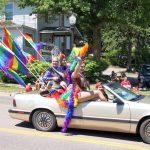 The U.P. Rainbow Pride drag ladies in their colorful car!