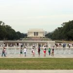 The fountains between the WWII memorial and the Lincoln Memorial