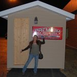 Pam Paris In Front Of The Steamin' Summer Sauna