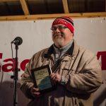 Walt Lindala showing off his new Volunteer of the Year Award.