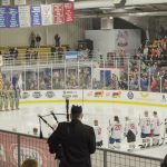 During the National Anthem in Lakeview Arena