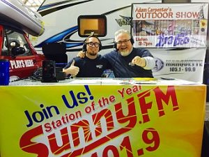 Walt and Ryan enjoying the Boat, Sport, and RV Show LIVE on Great Lakes Radio.