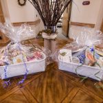 The two door prize gift baskets raffled off at the party.