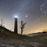 Stars over Little Sable Lighthouse in Michigan - Michael Tokarz Photography