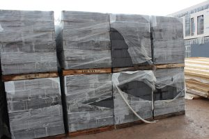 Cinder blocks staged for workers to use