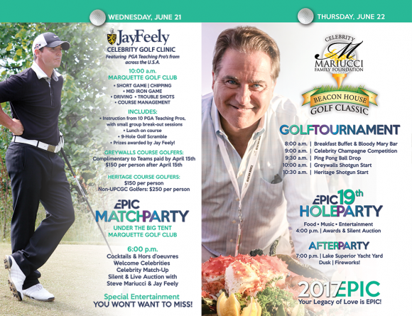 Celebrity Golf Outing festivities will begin Wednesday June 21st.