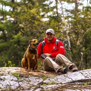 My dog Zeus and I at the top of Dead River Falls.