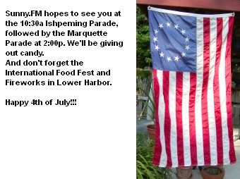 10:30 a.m. in Ishpeming and 2 p.m. in Marquette. Happy 4th of July.
