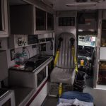 The inside of a UP Health Systems ambulance