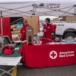 The American Red Cross was talking to people about their efforts to support during a medical crisis