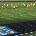The Negaunee Miners Football team warming up for their game against the Ishpeming Hematites on Sunny.FM 09/29/17