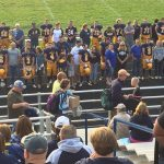 Negaunee Miners Football team and their parents on Parents night 09/15/17