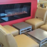 Look at that gorgeous fireplace and comfortable new lounge seats.