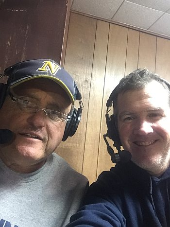Gregg Nelson (left) and Mark Evans (right) the voices of Negaunee Miner Football. The Negaunee Miners fall to the Westwood Patriots 30-14 during Football Night in Negaunee on October 20th, 2017