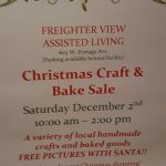 Don't miss the Christmas Craft and Bake Sale at Freighter View on December 2, 2017.