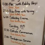 The evening's schedule of events.