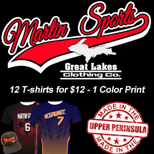 Get your custom t-shirts from Martin Sports in Ishpeming.