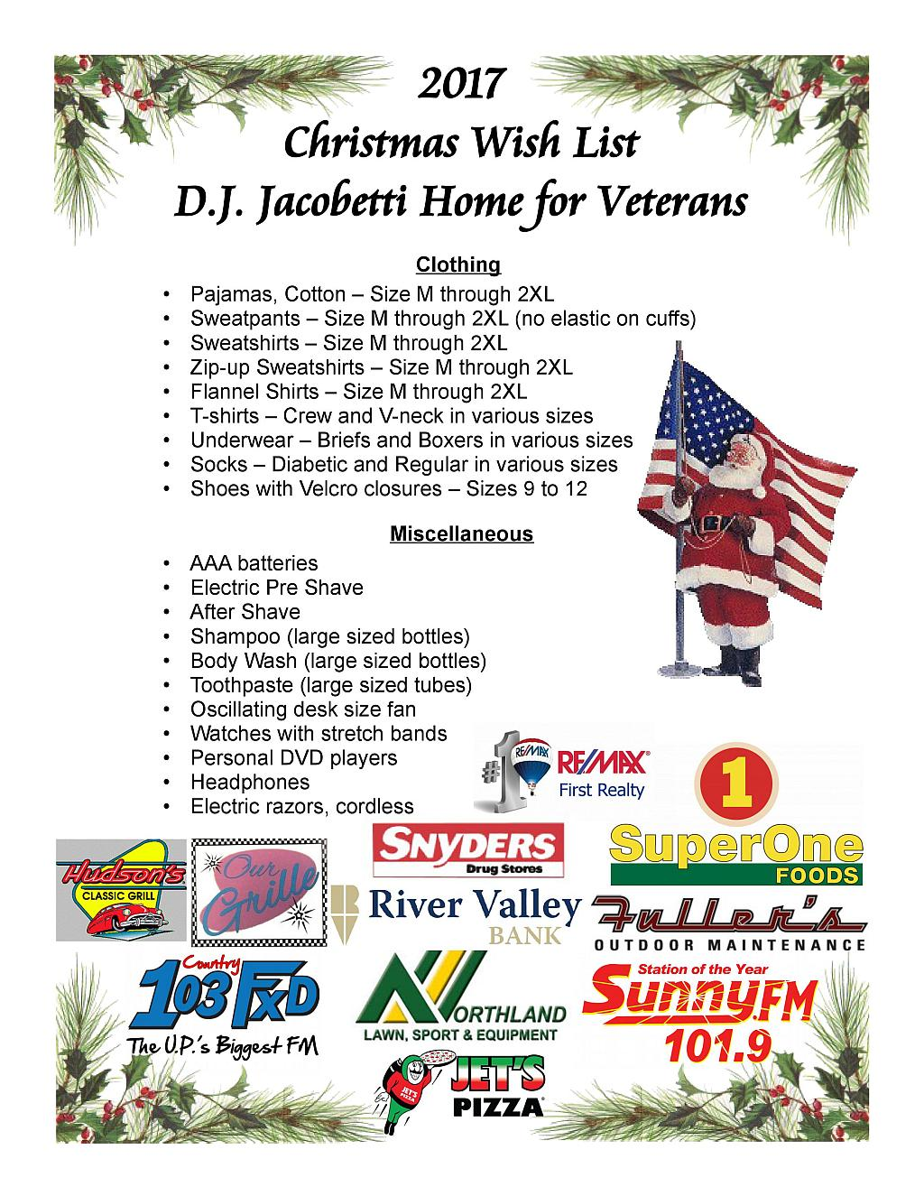 Click to see the 2017 Christmas Wist List for D.J. Jacobetti Home for Veterans.