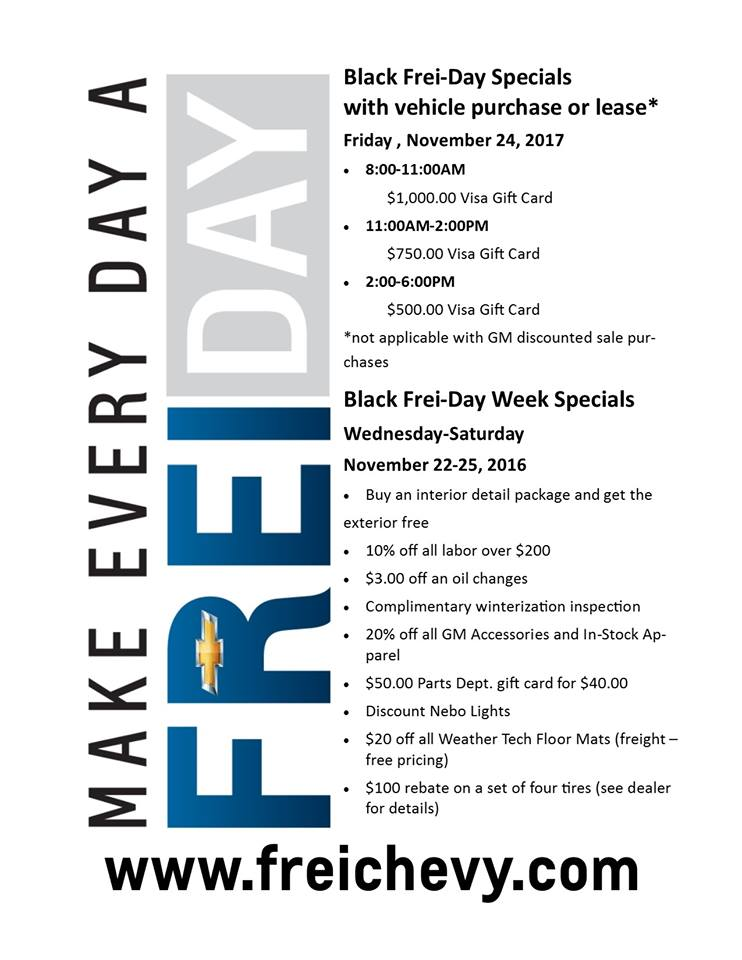 Get money back when you make a purchase or sign a lease from Frei Chevy on Black Friday!