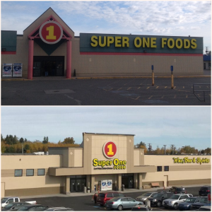 The Super One Foods Marquette store front, before and after