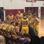 Negaunee Miners Girls basketball time-out in the Miners VS Menominee Maroons game.