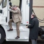 Marquette Meijer Store Director John Spaulding getting the keys out of one of the trucks.