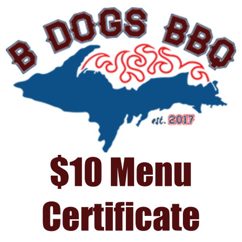 Stop by B Dogs BBQ at the entrance of Michigamme Shores Campground