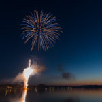 Fireworks over Teal Lake in Negaunee.