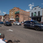 The Negaunee City Police lead the parade.