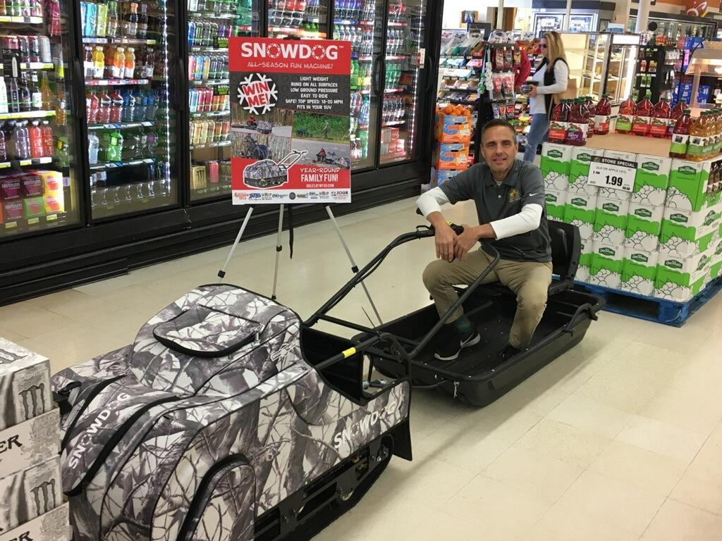 Tony from Great Lakes Fresh Market on the Snowdog from Four Seasons Small Engine!