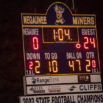 Moving into half time, Westwood leads 24 to 0 over the Negaunee Miners in varsity football.
