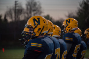 The Negaunee Miners playing their last home game of the season at Miners Stadium.