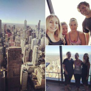 Kelsey, her mom Lisa, her sister Macy, and her sister's boyfriend Jordan at Chicago's 360 Sky Yoga