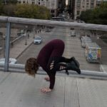Kelsey in Crow Pose at Millennium Park in Chicago, The Sunny Morning Show