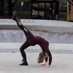 Kelsey in modified Wheel Pose at Millennium Park in Chicago, The Sunny Morning Show