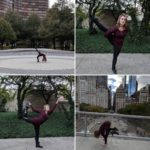 Kelsey practicing yoga poses at Chicago's Millennium Park