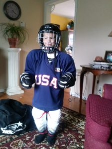 Kelsey's 7 Year Old Son Holden In His Hockey Gear, The Sunny Morning Show
