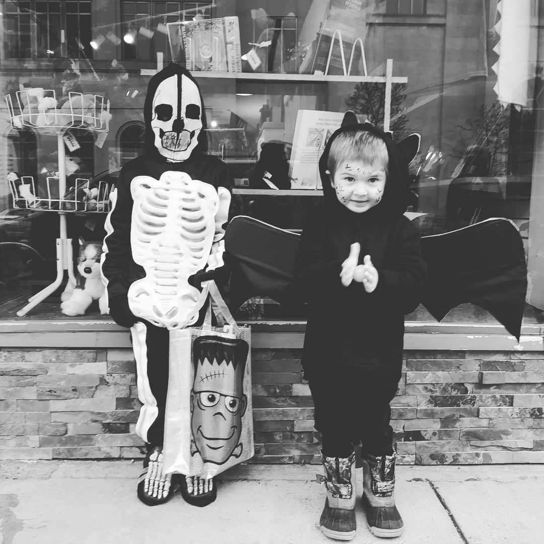 Kelsey's Son Holden as a Skeleton and her Nephew Titan as a Dragon for Halloween, The Sunny Morning Show