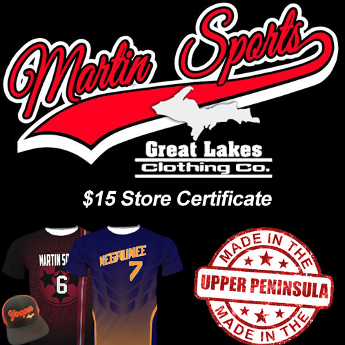 Use a $15 certificate toward any purchase at Martin Sports!