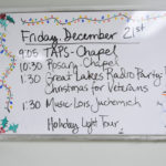 Today's holiday party itinerary.