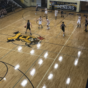 The Negaunee Miners on defense against the Houghton Gremlins