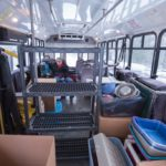 The bus was loaded with items from the shelter as well as all of the cats.