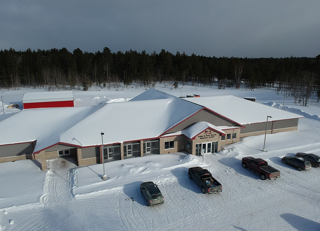 An aerial view of the new Upper Peninsula Animal Welfare Shelter.