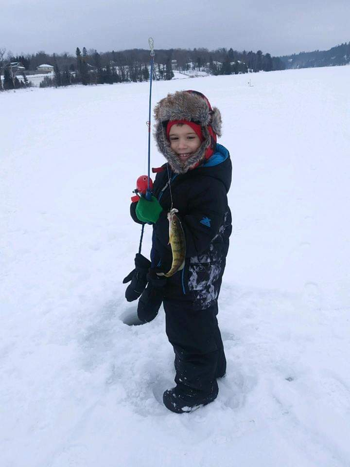 Holden Catching A Perch on Teal Lake