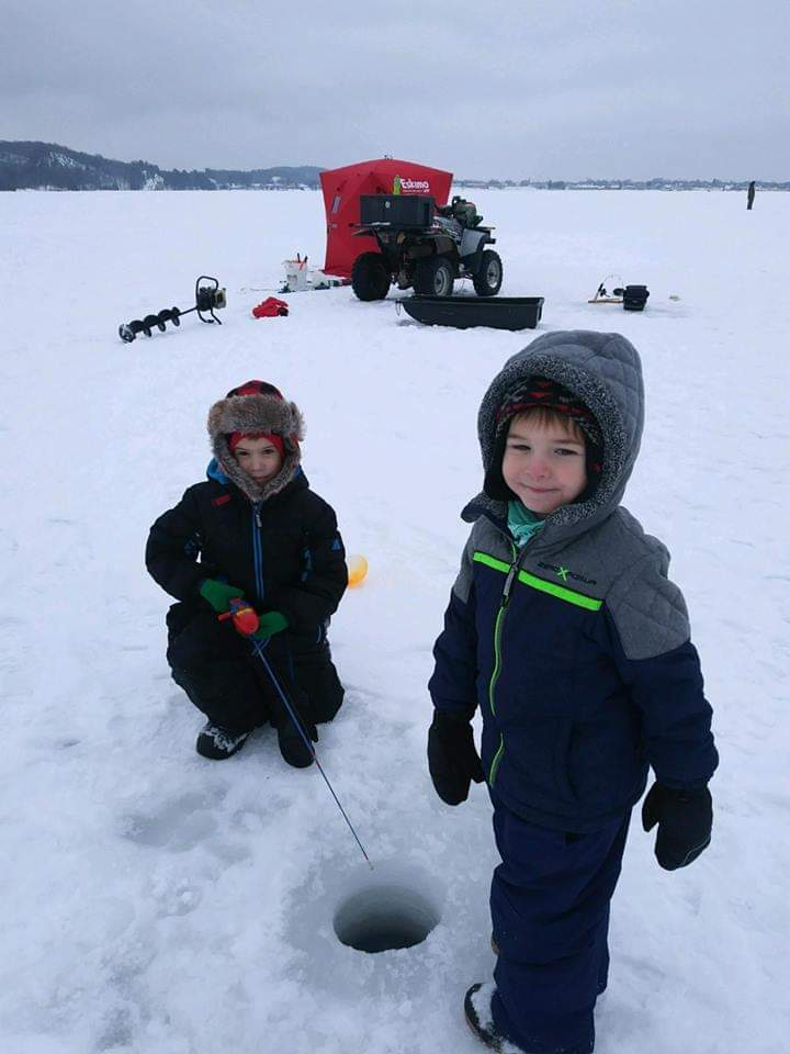 Holden and Titan, Ice Fishing on Teal Lake, January 2019