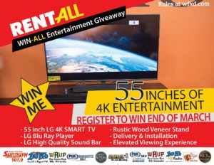 Register to win a brand new entertainment system from Rent-All of Marquette.